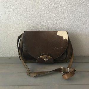 Vintage 1950s tooled Leather calfskin shoulder bag